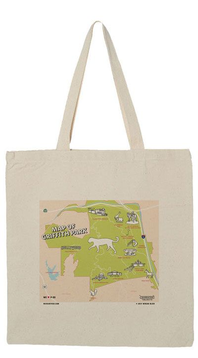 Griffith Park Map Canvas Tote